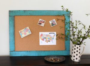 cork board, bulletin board, notice board, turquoise