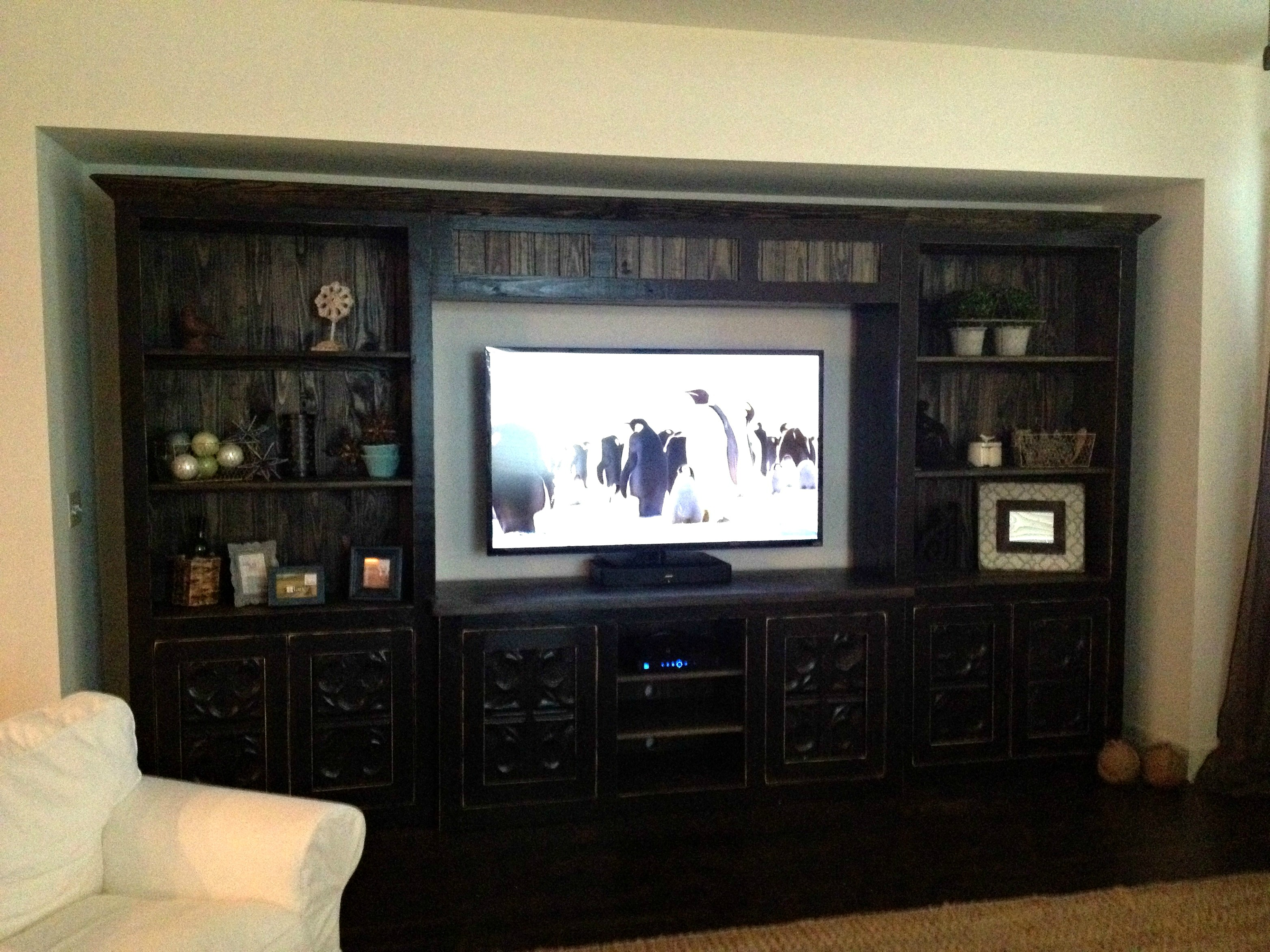 Custom Distressed Black Media Home Theater Piece