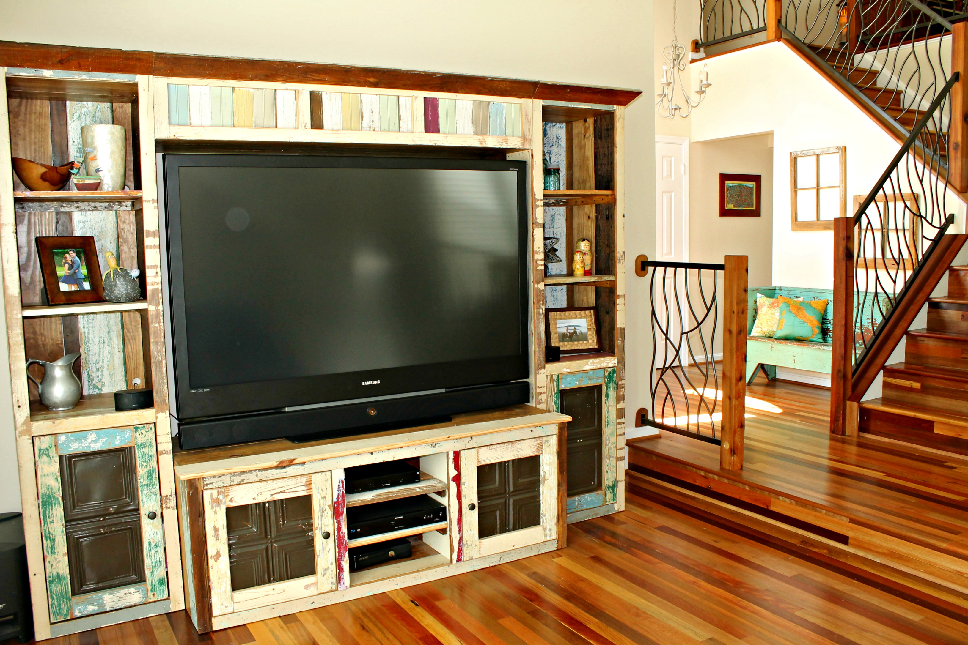 Custom Media Center Made from Reclaimed Wood