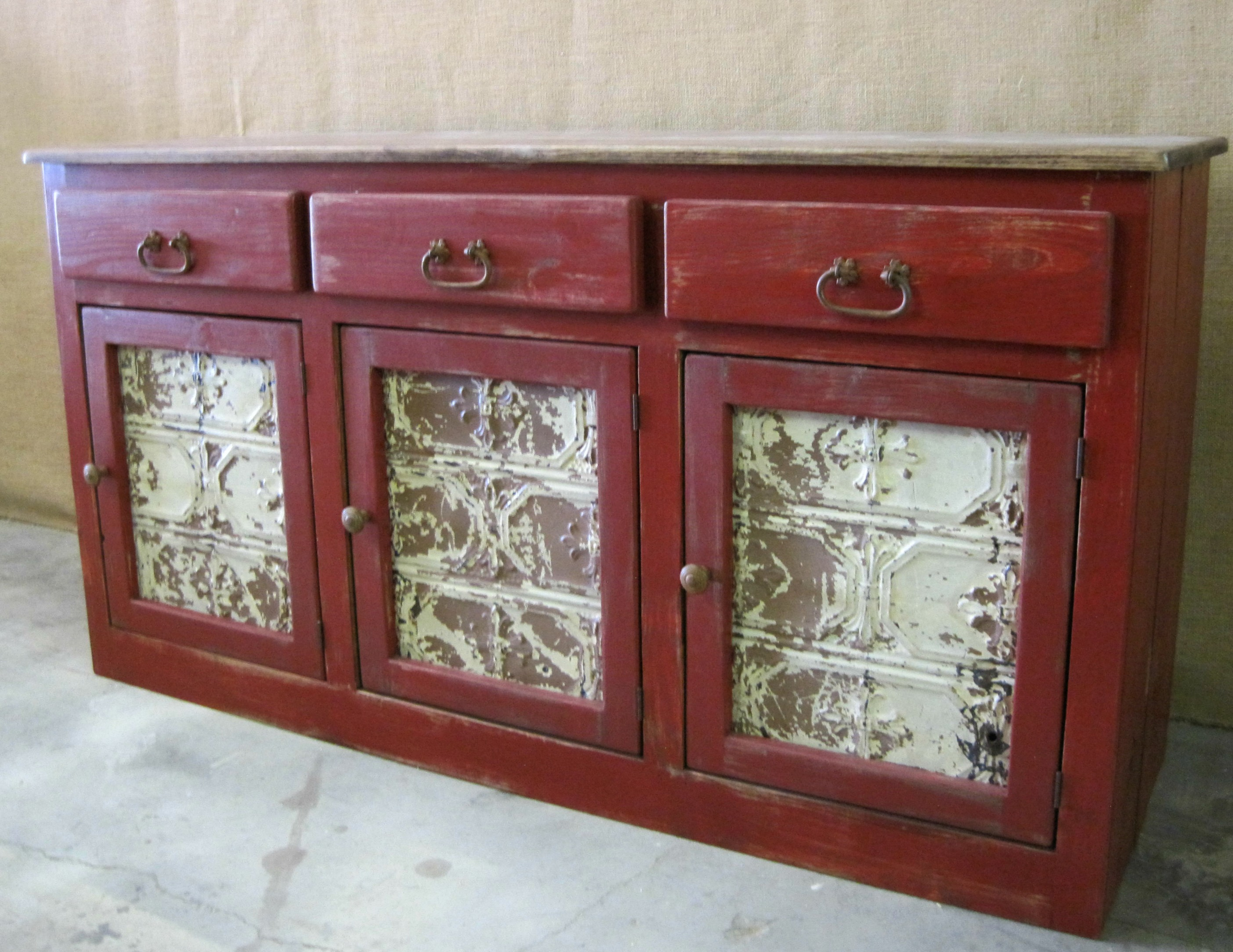 Custom Barn Red Buffet