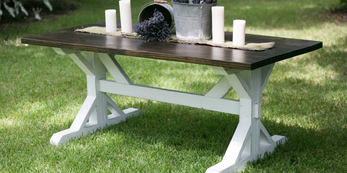 hand crafted trestle table