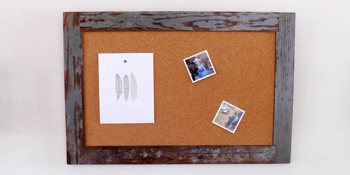 framed cork board reclaimed wood 24x36 36x48