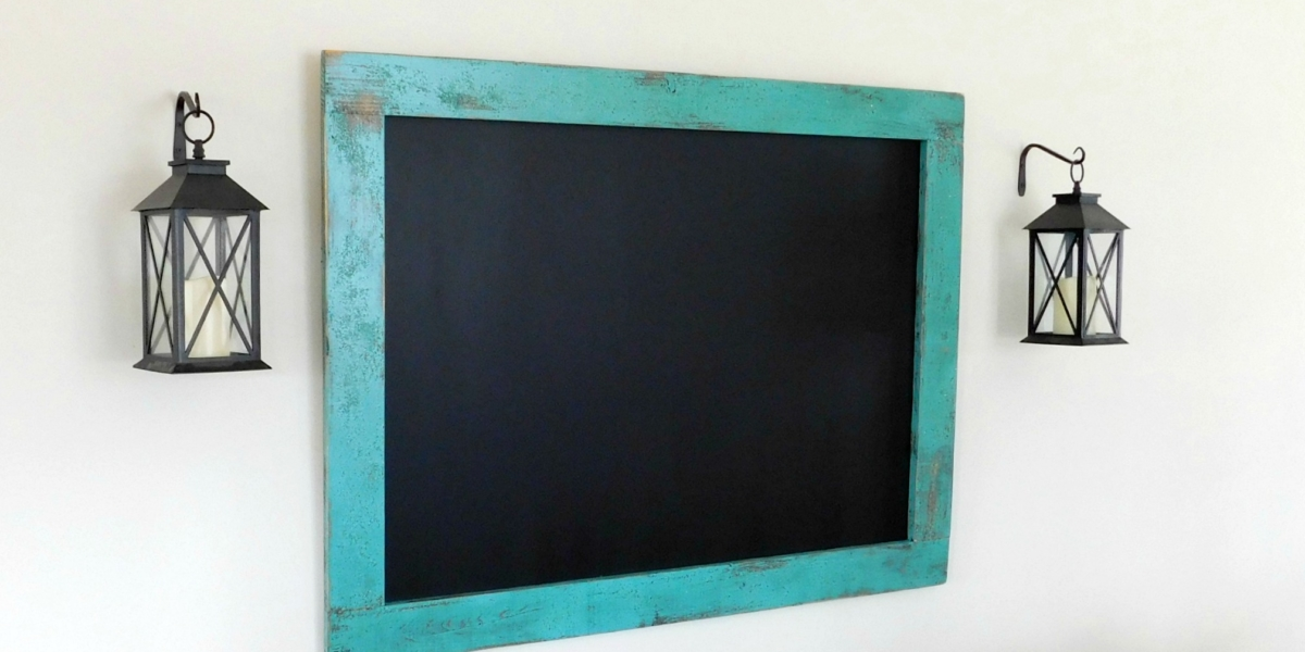 wood framed chalk board distressed 36x48 30x40 turquoise jade teal
