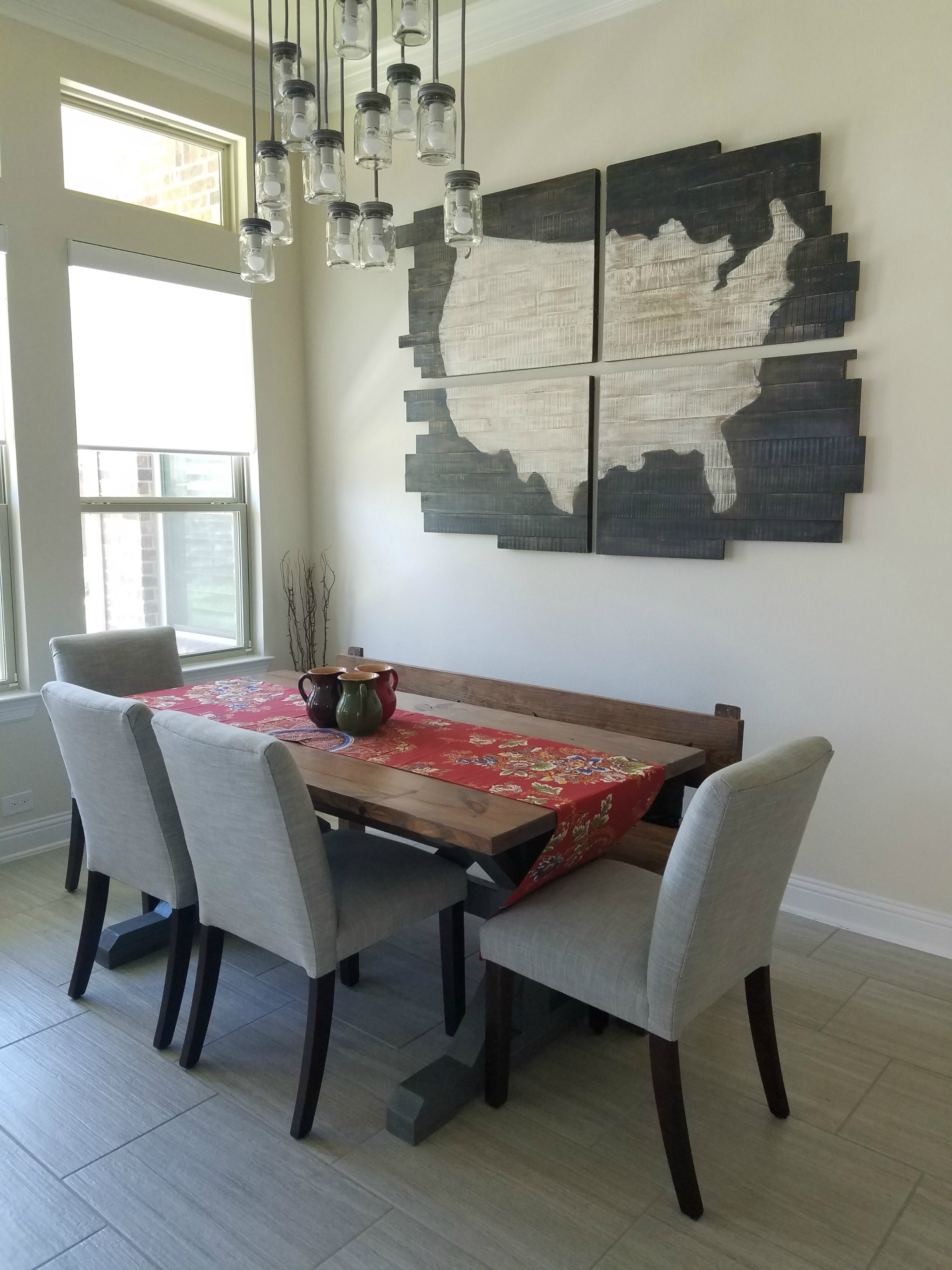 Trestle Table + Bench with Farmhouse Style