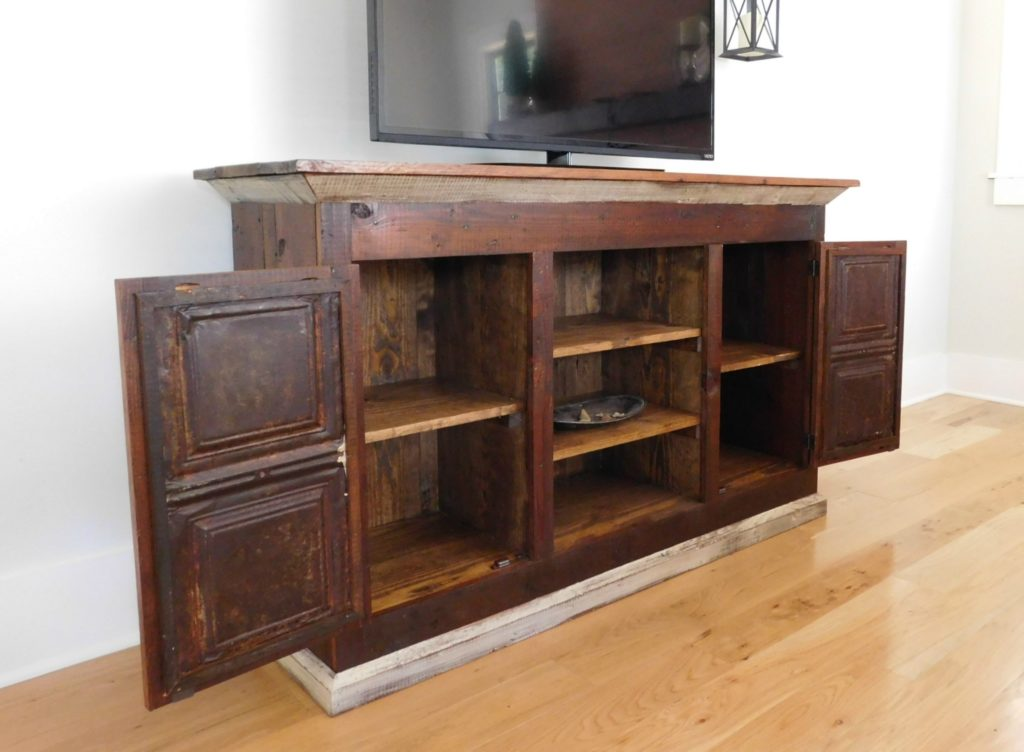 Reclaimed wood media console tv cabinet tenpenny house for Barnwood media cabinet