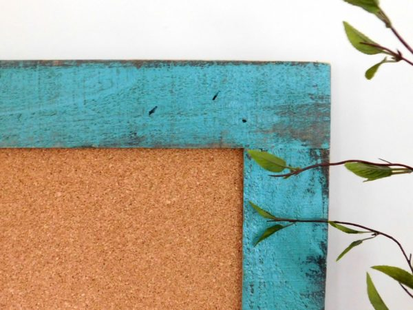 cork board turquoise frame
