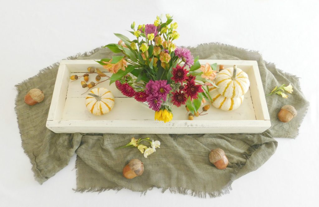 rustic wooden tray antique white 1